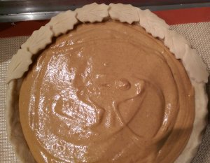 Pumpkin Pie ready for oven