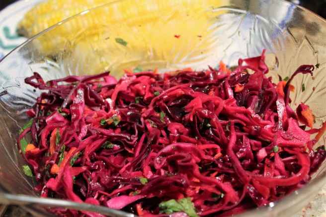 Red Cabbage Lime Cilantro Cole Slaw